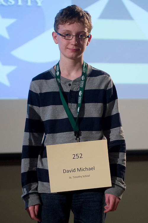 David Michael of St. Timothy School introduces himself during the Columbus Metro Regional Spelling Bee Regional Saturday, March 16, 2013. The Regional Spelling Bee was sponsored by Ohio University's Scripps College of Communication and held in Margaret M. Walter Hall on OU's main campus.