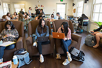 (Hyerin) Emma Lee '18 (left) and Francesca Cenzatti '18 in the Green Bean at Branca Patio, March 28, 2018.<br /> (Photo by Marc Campos, Occidental College Photographer)