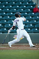 Yeyson Yrizarri (2) of the Winston-Salem Dash follows through on his swing against the Wilmington Blue Rocks at BB&T Ballpark on April 15, 2019 in Winston-Salem, North Carolina. The Dash defeated the Blue Rocks 9-8. (Brian Westerholt/Four Seam Images)