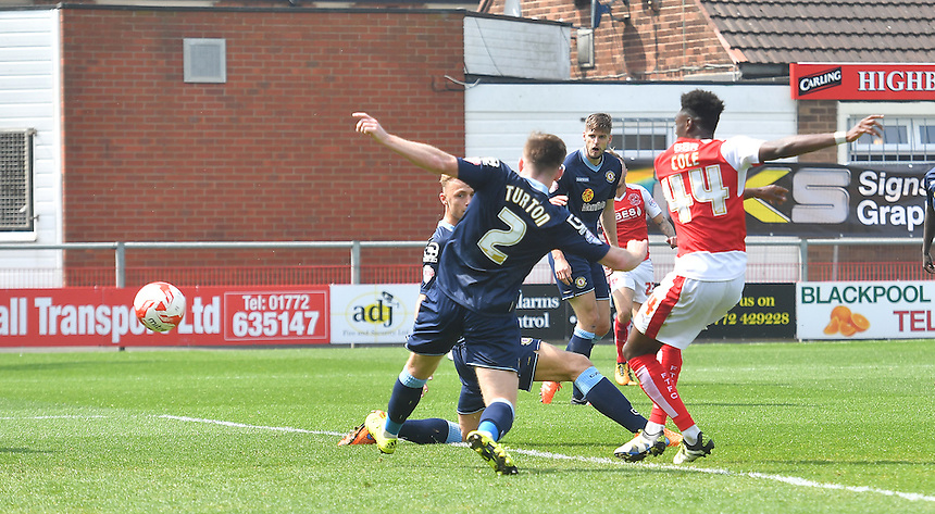 Fleetwood Town's Devante Cole scores his team's second goal<br /> <br /> Photographer Dave Howarth/CameraSport<br /> <br /> Football - The Football League Sky Bet League One - Fleetwood Town v Crewe Alexandra - Sunday 8th May 2016 - Highbury Stadium - Fleetwood    <br /> <br /> &copy; CameraSport - 43 Linden Ave. Countesthorpe. Leicester. England. LE8 5PG - Tel: +44 (0) 116 277 4147 - admin@camerasport.com - www.camerasport.com