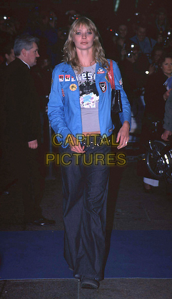 """JODIE KIDD.Arriving at The Premiere of """"Captain Corelli's Mandolin"""" in Leicester Square.Ref: 10807 .patch jacket, model, full length, full-length .www.capitalpictures.com.sales@capitalpictures.com.© Capital Pictures."""