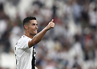 Calcio, Serie A: Juventus - Lazio, Torino, Allianz Stadium, 25 agosto, 2018.<br /> Juventus' captain Cristiano Ronaldo celebrates safter winning 2-0 the Italian Serie A football match between Juventus and Lazio at Torino's Allianz stadium, August 25, 2018.<br /> UPDATE IMAGES PRESS/Isabella Bonotto