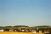 Chablis: A view over the grand cru hill and the village from the south side of the village