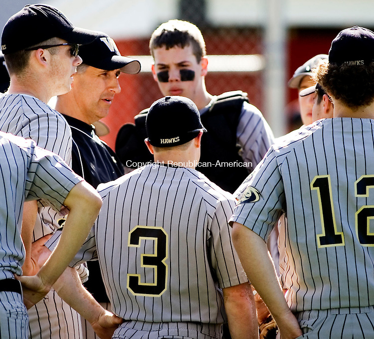 WATERTOWN, CT- 30 APRIL 07- 043007JT13-<br /> Woodland coach Joe Steele talks to his team during Monday's game at Deland Field against Watertown in Watertown. Woodland won 7-3.<br /> Josalee Thrift Republican-American