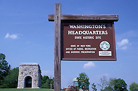 George Washington, Newburgh, New York, Washington's Headquarters State Historic Site, sign, Tower and Victory Monument.