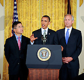 United States President Barack Obama delivers remarks on the economy, with, from left, Secretary of Commerce Gary Locke and President & CEO of The Boeing Company, Jim McNerney, during an East Room event in the White House on Wednesday, July 7, 2010, in Washington, DC.  Nerney is also Chair of the President's Export Council.   .Credit: Leslie E. Kossoff / Pool via CNP