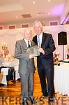 FAI Chief Executive John Delaney presents Guest of Honour Pops van Diventer with a momento at the gala dinner held on the Sunday evening at the Kenmore Bay Hotel.<br /> John had forgiven Pops for giving him a red card while referring a game he played in for Tralee Celtic back in his youngers years