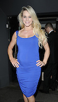 AMY GUY.At the Active Harry new campaign launch party, Embassy nightclub, London, England, UK, .February 9th 2011..half length  sleeveless blue dress hands on hips ruched pregnant maternity .CAP/CAN.©Can Nguyen/Capital Pictures.