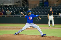 AZL Cubs starting pitcher Alfredo Colorado (75) delivers a pitch to the plate against the AZL Giants on September 5, 2017 at Scottsdale Stadium in Scottsdale, Arizona. AZL Cubs defeated the AZL Giants 10-4 to take a 1-0 lead in the Arizona League Championship Series. (Zachary Lucy/Four Seam Images)