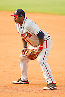 Rome Braves first baseman William Beckwith #23 on defense against the Kannapolis Intimidators at CMC-Northeast Stadium on August 5, 2012 in Kannapolis, North Carolina.  The Intimidators defeated the Braves 9-1.  (Brian Westerholt/Four Seam Images)