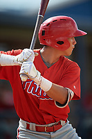Philadelphia Phillies Jose Mercado (5) at bat during a Florida Instructional League game against the New York Yankees on October 11, 2018 at Yankee Complex in Tampa, Florida.  (Mike Janes/Four Seam Images)