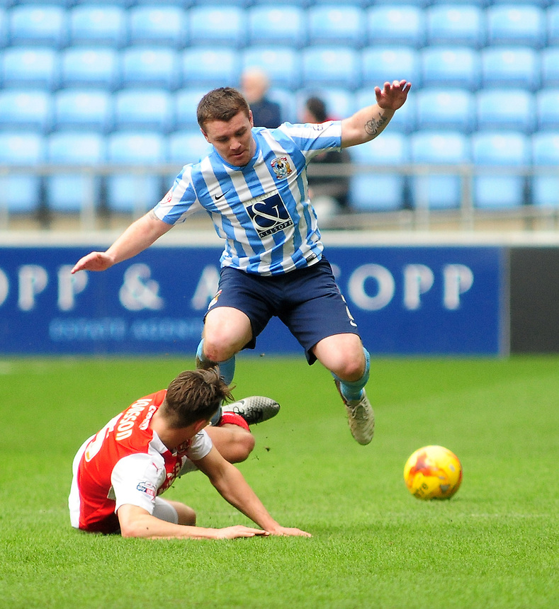Fleetwood Town's Eggert Jonsson vies for possession with Coventry City's John Fleck<br /> <br /> Photographer Andrew Vaughan/CameraSport<br /> <br /> Football - The Football League Sky Bet League One - Coventry City v Fleetwood Town - Saturday 27th February 2016 - Ricoh Stadium - Coventry   <br /> <br /> &copy; CameraSport - 43 Linden Ave. Countesthorpe. Leicester. England. LE8 5PG - Tel: +44 (0) 116 277 4147 - admin@camerasport.com - www.camerasport.com