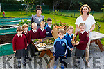 Growing new great ideas with their potatoes and carrots from their garden in Knockaderry NS in Farranfore on Thursday morning.<br /> Front l to r: Fionn Henderson, Niamh O'Sullivan, Aoibhínn Daly and Aine Daly (Principal).<br /> Back l to r: Kate McGough, Sophie Deniel, Aidan and Luke Barry, Darragh O'Sullivan and Stephanie Egan (Teacher).
