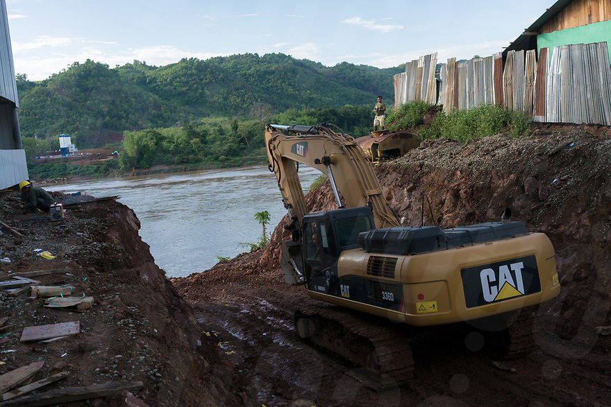 "May 15, 2017 - Luang Prabang (Laos). One of the construction site in the outskirts of Luang Prabang used to support the construction of the new massive Chinese railway project part of the ""One road, one belt"" initiative. © Thomas Cristofoletti / Ruom"