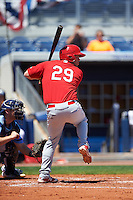 Palm Beach Cardinals designated hitter Casey Grayson (29) at bat during a game against the Charlotte Stone Crabs on April 10, 2016 at Charlotte Sports Park in Port Charlotte, Florida.  Palm Beach defeated Charlotte 4-1.  (Mike Janes/Four Seam Images)