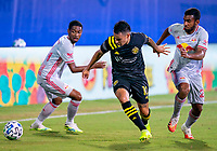 16th July 2020, Orlando, Florida, USA;  Columbus Crew midfielder Lucas Zelarrayan (10) breaks forward during the MLS Is Back Tournament between the Columbus Crew SC versus New York Red Bulls on July 16, 2020 at the ESPN Wide World of Sports, Orlando FL.