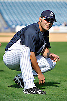 Feb 23, 2010; Tampa, FL, USA; New York Yankees catcher Jesus Montero (83) during team workout at George M. Steinbrenner Field. Mandatory Credit: Tomasso De Rosa
