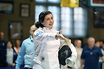 12 February 2017: UNC's Samantha Galina (left) after her Epee match. The University of North Carolina Tar Heels played the Northwestern University Wildcats at Card Gym in Durham, North Carolina in a 2017 College Women's Fencing match. UNC won the dual match 15-12 overall, 5-4 Foil, 5-4 Epee, and 5-4 Saber.
