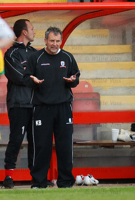 Airdrie Utd boss Kenny Black urges his players on