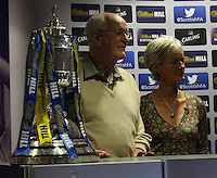 Julie Murray with her father and former player Roy Erskine who assisted with the draw for the Scottish Cup 1st Round which took place at Hampden Park, Glasgow on 8.8.13.