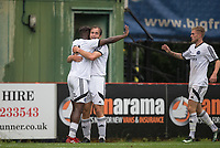 Bernard Mensah (left) & Bobby Joe Taylor (right) congratulate goalscorer Jake Gallagher of Aldershot Town during the pre season friendly match between Aldershot Town and Wycombe Wanderers at the EBB Stadium, Aldershot, England on 22 July 2017. Photo by Andy Rowland.