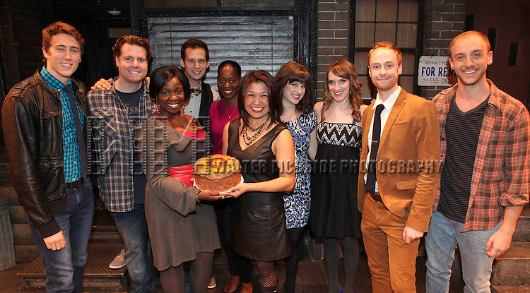 The cast of 'Avenue Q' (L to R) Darren Bluestone, Nicholas Kohn, Danielle K. Thomas, Jed Resnick, Robin S. Walker, Hazel Anne Raymundo, Veronica Kuehn, Kexy Fridell, Rob Morrison and Michael Liscio Jr. celebrating their 3rd Anniversary Off-Broadway at The World Stages on 10/22/2012 in New York City.