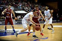 GRONINGEN - Donar - KK Bosna, Martiniplaza, Europe Cup, seizoen 2017-2018, 15-11-2017,  Donar speler Drago Pasalic met KK Bosna speler Adi Alikadic