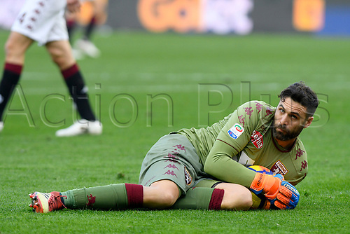 11th February 2018, Stadio Olimpico di Torino, Turin, Italy; Serie A football, Torino versus Udinese; Keeper Salvatore Sirigu covers up the ball