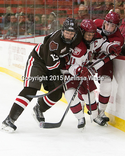Ben Tegtmeyer (Brown - 13), Kyle Criscuolo (Harvard - 11), Jimmy Vesey (Harvard - 19) - The Harvard University Crimson defeated the Brown University Bears 4-3 to sweep their first round match up in the ECAC playoffs on Saturday, March 7, 2015, at Bright-Landry Hockey Center in Cambridge, Massachusetts.