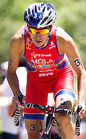 02 JUN 2013 - MADRID, ESP - Mario Mola (ESP) of Spain on the bike during the men's ITU 2013 World Triathlon Series round in Casa de Campo, Madrid, Spain (PHOTO (C) 2013 NIGEL FARROW)