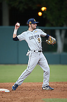 John Bonanca #23 of the Coppin State Eagles throws to first base during a game against the Southern California Trojans at Dedeaux Field on February 18, 2017 in Los Angeles, California. Southern California defeated Coppin State, 22-2. (Larry Goren/Four Seam Images)