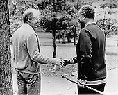 United STates President Jimmy Carter, left, and President Anwar Sadat of Egypt, right, shake hands as they part company after completing a walk on the grounds of Camp David, the presidential retreat near Thurmont, Maryland on September 14, 1978..Credit:  - White House via CNP