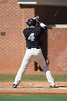 Vincent Tranchina (4) of the LIU-Brooklyn Blackbirds at bat against the High Point Panthers at Willard Stadium on March 8, 2015 in High Point, North Carolina.  The Panthers defeated the Blackbirds 9-0.  (Brian Westerholt/Four Seam Images)