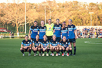 Kansas City, Mo. - Saturday April 23, 2016: The starting XI for FC Kansas City - goalkeeper Nicole Barnhart (18), forward Shea Groom (2), defender Desiree Scott (3), defender Becky Sauerbrunn (4), midfielder Jen Buczkowski (6), midfielder Mandy Laddish (7), midfielder Heather O'Reilly (9), midfielder Yael Averbuch (10), defender Brittany Taylor (13), midfielder Erika Tymrak (15), defender Amanda Frisbie (17) - line up before hosting Portland Thorns FC at Swope Soccer Village. The match ended in a 1-1 draw.
