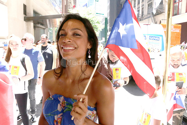 NEW YORK, NY - JUNE 12: Rosario Dawson at The 2016 NY Puerto Rican Day Parade in New York City on June 12, 2016. Credit: Walik Goshorn/MediaPunch