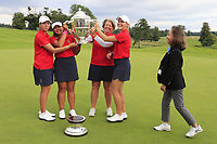 Kristen Gillman, Lilia Vu, Jennifer Kupcho and Team Captain Stasia Collins Team USA being presented with the Espirito Santo Trophy after the final of the World Amateur Team Championships 2018, Carton House, Kildare, Ireland. 01/09/2018.<br /> Picture Fran Caffrey / Golffile.ie<br /> <br /> All photo usage must carry mandatory copyright credit (&copy; Golffile | Fran Caffrey)