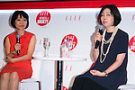 (L to R) Akiko Mori, ELLE Japan Publisher and Keiko Hamada, editor-in-chief of AERA speak to the audience during the ''ELLE Women in Society'' event on July 13, 2015, Tokyo, Japan. The event promotes the working women's roll in Japanese society with various seminars where top businesswomen, musicians, writers and other international celebrities speak about the working women's roll in the world. By 2020 Prime Minister Shinzo Abe's administration aims to increase the percentage of women in leadership positions to 30% in Japan. (Photo by Rodrigo Reyes Marin/AFLO)