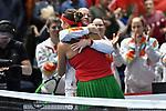 10.02.2019, Volkswagen Halle, Braunschweig, GER, Fed Cup 2019: Auftakt Deutschland vs. Weißrussland in Braunschweig,<br /> <br /> im Bild Aryna Sabalenka (BLR) und Tatiana Poutchek Teamkapitän / Teamkapitaen (BLR) liegen sich in den Armen Jubel / Freude / Emotion / nach ihrem Sieg gegen Laura Siegemund (GER), Porsche Team Deutschland <br /> <br /> Foto © nph/Mauelshagen
