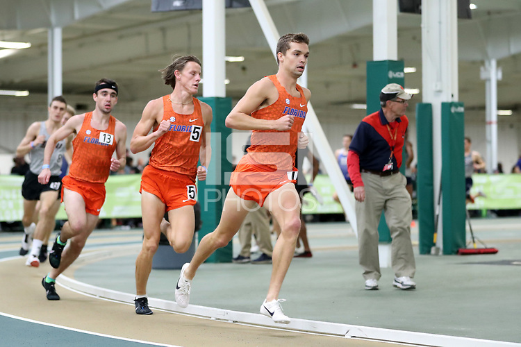 WINSTON-SALEM, NC - FEBRUARY 07: Jack Guyton #7, Marshall Dillon #5, and Hugh Brittenham #13 of the University of Florida run as a pack in the Men's 1 Mile Run at JDL Fast Track on February 07, 2020 in Winston-Salem, North Carolina.