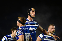 Bath Rugby players look on during a break in play. Premiership Rugby Cup match, between Bath Rugby and Gloucester Rugby on February 3, 2019 at the Recreation Ground in Bath, England. Photo by: Patrick Khachfe / Onside Images