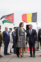 Queen Rania & King Abdullah II arrive at Melsbroek airport for a Belgium State Visit - Belgium