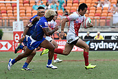 2nd February 2019, Spotless Stadium, Sydney, Australia; HSBC Sydney Rugby Sevens; Samoa versus Japan; Naoki Motomura of Japan makes a break past the Samoan defence