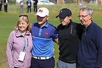 Alex Fitzpatrick (GB&I) with his Mum and Dad and brother Matthew on the 17th after winning their opening match during the Foursomes at the Walker Cup, Royal Liverpool Golf CLub, Hoylake, Cheshire, England. 07/09/2019.<br /> Picture Thos Caffrey / Golffile.ie<br /> <br /> All photo usage must carry mandatory copyright credit (© Golffile | Thos Caffrey)