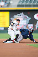 Jose Vinicio (2) of the Pawtucket Red Sox steals second base ahead of the tag by Jake Peter (5) of the Charlotte Knights at BB&T BallPark on July 6, 2016 in Charlotte, North Carolina.  The Knights defeated the Red Sox 8-6.  (Brian Westerholt/Four Seam Images)