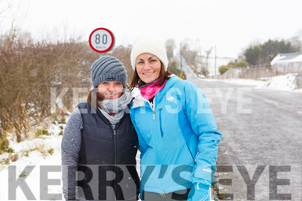 Hannah Healy and Maeve Kneeshaw enjoying their brisk walk going up by Doon on Friday afternoon.