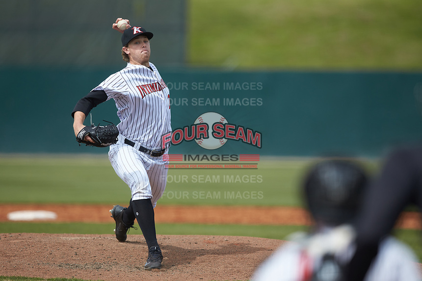 Kannapolis Intimidators starting pitcher John Parke (27) in action against the Lakewood BlueClaws at Kannapolis Intimidators Stadium on April 8, 2018 in Kannapolis, North Carolina.  The Intimidators defeated the BlueClaws 5-1 in game one of a double-header.  (Brian Westerholt/Four Seam Images)