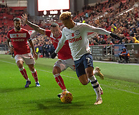 Preston North End's Callum Robinson (right) battles with Bristol City's Jack Hunt (left) <br /> <br /> <br /> Photographer David Horton/CameraSport<br /> <br /> The EFL Sky Bet Championship - Bristol City v Preston North End - Saturday 10th November 2018 - Ashton Gate Stadium - Bristol<br /> <br /> World Copyright &copy; 2018 CameraSport. All rights reserved. 43 Linden Ave. Countesthorpe. Leicester. England. LE8 5PG - Tel: +44 (0) 116 277 4147 - admin@camerasport.com - www.camerasport.com
