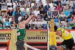 31.05.2015, Moskau, Vodny Stadion<br /> Moskau Grand Slam, Main Draw / Spiel Platz 3/4<br /> <br /> Block Alison Cerutti (#1 BRA) - Angriff Jonathan Erdmann (#1 GER)<br /> <br />   Foto &copy; nordphoto / Kurth