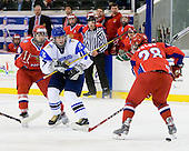 Pavel Zotov (Russia - 16), Iiro Pakarinen (Finland - 10), Dmitry Orlov (Russia - 28) - Russia defeated Finland 4-0 at the Urban Plains Center in Fargo, North Dakota, on Friday, April 17, 2009, in their semi-final match during the 2009 World Under 18 Championship.