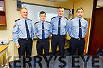 Sgt Michael Doherty with the 3 new Garda recruits, Dyllan Nolan, Seamus O'Riordan and Alan Dunne at the Tralee Garda station on Friday